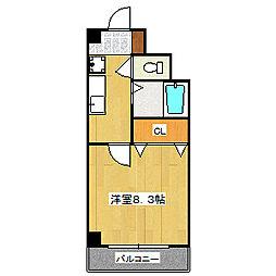 ハウスセゾン四条通[1502号室]の間取り