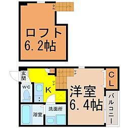 愛知県名古屋市熱田区三本松町の賃貸アパートの間取り