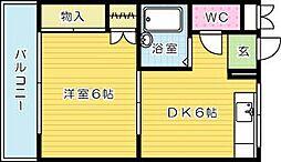 福岡県北九州市小倉北区足立1丁目の賃貸マンションの間取り