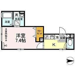 JR総武線 新小岩駅 徒歩20分の賃貸アパート 2階1Kの間取り