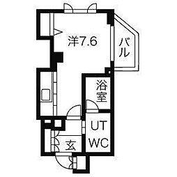 東京メトロ丸ノ内線 新宿御苑前駅 徒歩5分の賃貸マンション 7階1Kの間取り