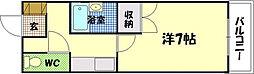 広島県広島市中区東白島町の賃貸マンションの間取り