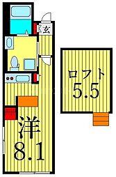 つくばエクスプレス 浅草駅 徒歩13分の賃貸マンション 5階ワンルームの間取り