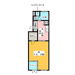 レインボーカーサ内田橋[3階]の間取り