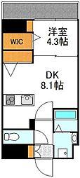 YOU'S VII番館 8階1DKの間取り