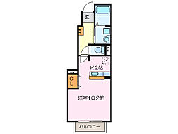 三重県松阪市田原町の賃貸アパートの間取り
