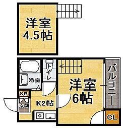 福岡県福岡市中央区地行3丁目の賃貸アパートの間取り