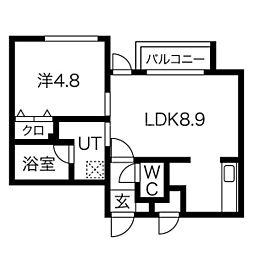 札幌市営南北線 北18条駅 徒歩9分の賃貸マンション 4階1LDKの間取り
