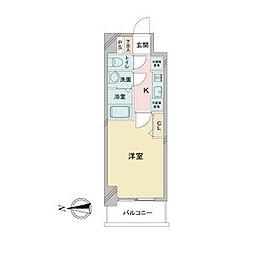 アステリ鶴舞ディオ 14階1Kの間取り