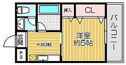 京阪本線 土居駅 徒歩6分の賃貸マンション 2階1Kの間取り