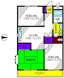 東京都立川市柴崎町4丁目の賃貸マンションの間取り