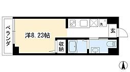 プランドール西院 2階1Kの間取り
