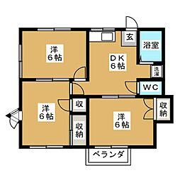 エクセル西の平B[2階]の間取り