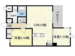 北大阪急行電鉄 緑地公園駅 徒歩13分の賃貸マンション 2階2LDKの間取り