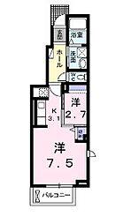 広島県福山市春日町6の賃貸アパートの間取り