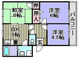 クーミーハウス岸和田[206号室]の間取り