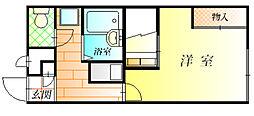 近鉄長野線 古市駅 徒歩22分の賃貸アパート 2階1Kの間取り