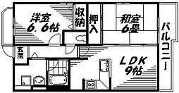 京阪本線 西三荘駅 徒歩2分の賃貸マンション 1階2DKの間取り