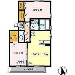 ポワール・M B棟[2階]の間取り