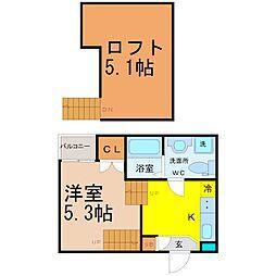 愛知県名古屋市中区新栄3丁目の賃貸アパートの間取り