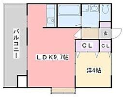 ヴィンテージ大濠 3階1LDKの間取り