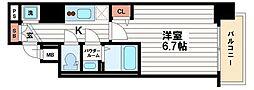 プレサンス松屋町駅前[11階]の間取り