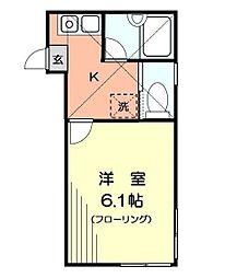 神奈川県横浜市南区山谷の賃貸アパートの間取り
