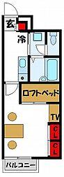 レオパレス若木台[104号室]の間取り