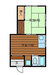 神奈川県相模原市中央区鹿沼台1丁目の賃貸アパートの間取り