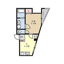 グランディールKAMITANABE[4階]の間取り