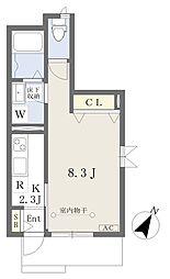 川内三十人町集合住宅 1階1Kの間取り