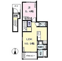 名古屋市営東山線 中村公園駅 バス13分 東条下車 徒歩7分の賃貸アパート 2階1LDKの間取り
