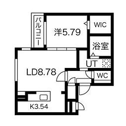 (仮称)手稲本町2-1MS 5階1LDKの間取り