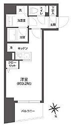 都営大江戸線 牛込柳町駅 徒歩3分の賃貸マンション 2階ワンルームの間取り