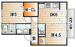 サンクラーズメゾン A棟[1階]の間取り