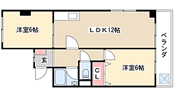 サントピア室賀[4階]の間取り