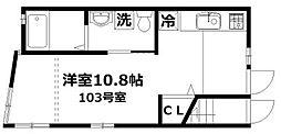 ミーナソルテ桜新町[103号室]の間取り
