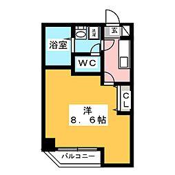 金太郎ヒルズ243松が谷 5階1Kの間取り