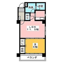 愛知県名古屋市千種区菊坂町1丁目の賃貸マンションの間取り