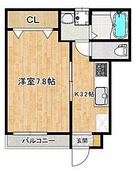 仮称)南観音町新築アパート 1階1Kの間取り