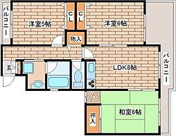 兵庫県芦屋市川西町の賃貸マンションの間取り