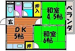 岡山県岡山市中区中納言町の賃貸マンションの間取り