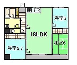 段原タカキビル[6階]の間取り