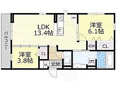 Osaka Metro御堂筋線 なかもず駅 徒歩19分の賃貸アパート 2階2LDKの間取り
