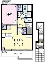 広島県福山市北本庄1丁目の賃貸アパートの間取り