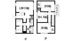 [テラスハウス] 兵庫県宝塚市口谷東1丁目 の賃貸【/】の間取り