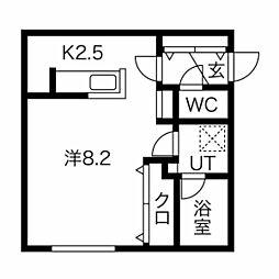 札幌市営南北線 澄川駅 徒歩5分の賃貸マンション 3階1Kの間取り