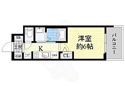 Osaka Metro御堂筋線 西中島南方駅 徒歩11分の賃貸マンション 5階1Kの間取り