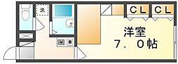 高松琴平電気鉄道志度線 潟元駅 徒歩7分の賃貸アパート 2階1Kの間取り