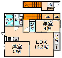 兵庫県伊丹市御願塚7丁目の賃貸アパートの間取り